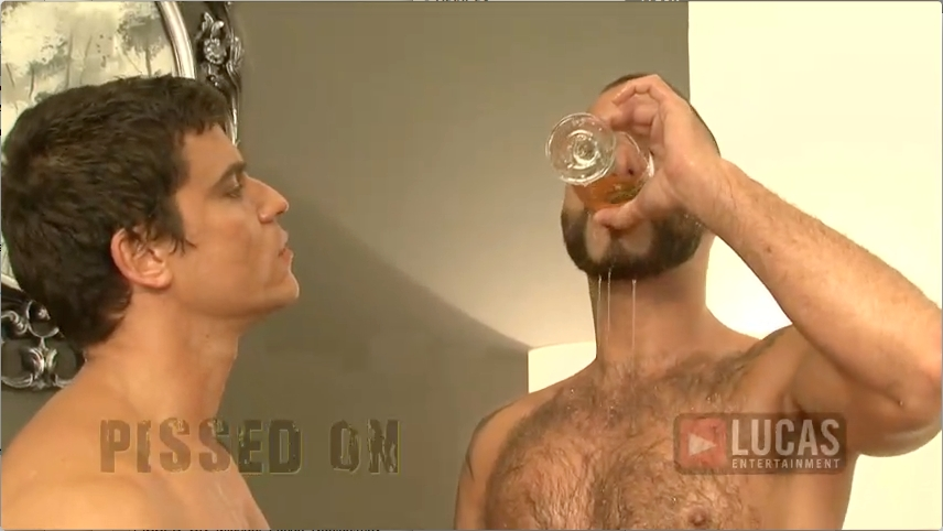 Michael Lucas Pisses On Nubius While Rafael Carreras and Jonathan Agassi Share a Glass of Urine