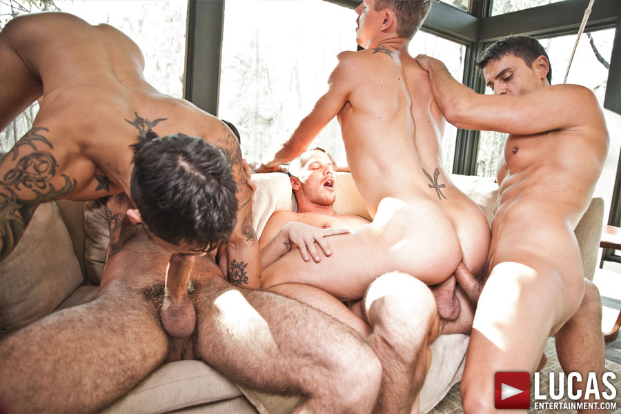 Rousing gay on gay on gay barebacked fuck