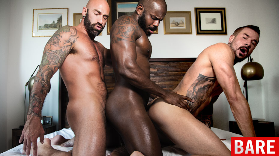 Twink receives interracial during threesome